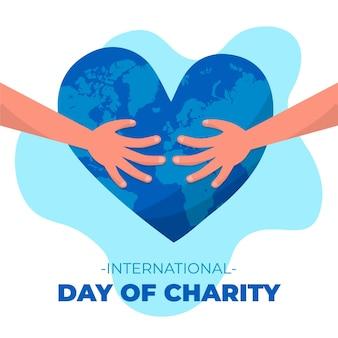 Giorno internazionale disegnato a mano del concetto di carità