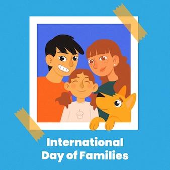 Giorno internazionale disegnato a mano del concetto di famiglie