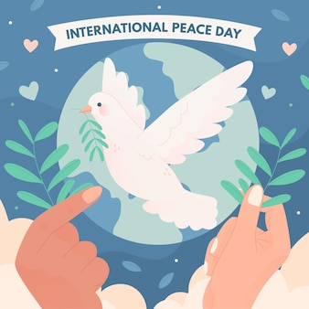 Giorno internazionale disegnato a mano del concetto di pace