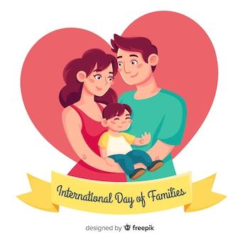 Giorno internazionale disegnato a mano di famiglie sullo sfondo