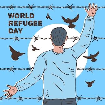Giorno libero del rifugiato di concetto dell'uomo messo in gabbia e degli uccelli