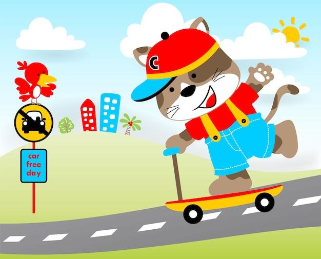 Giorno libero dell'automobile, illustrazione del fumetto di vettore