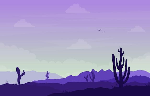 Giorno nel vasto deserto americano occidentale con l'illustrazione del paesaggio di orizzonte del cactus