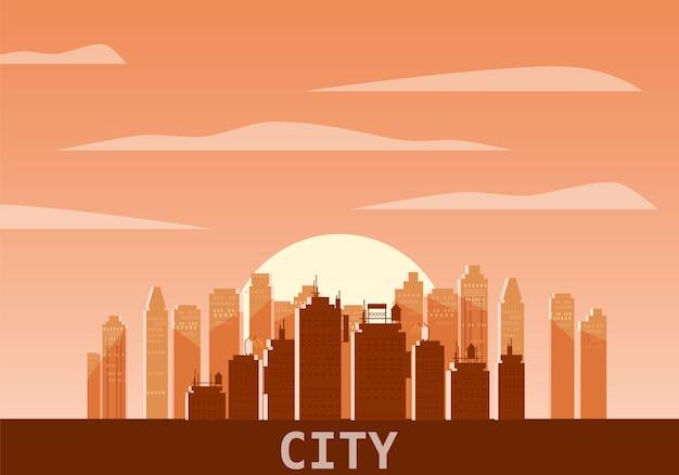 Giorno paesaggio urbano. priorità bassa panoramica di vettore dell'orizzonte moderno della città. orizzonte urbano dei grattacieli della torre della città