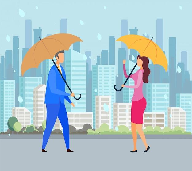 Giorno piovoso, illustrazione piana di vettore del maltempo
