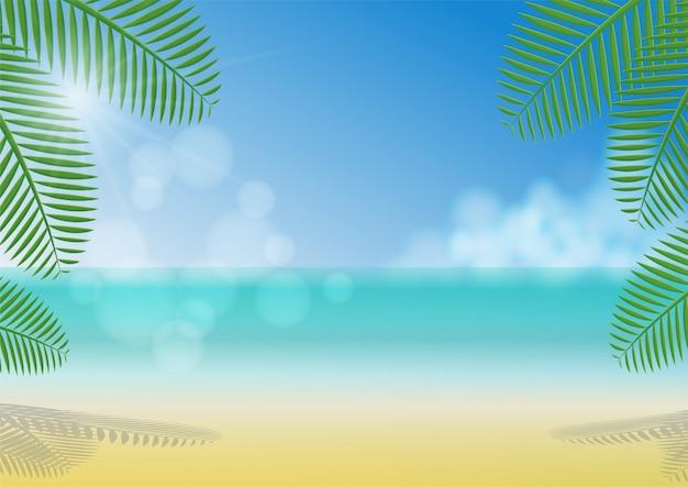 Giorno soleggiato sotto l'ombra degli alberi di noce di cocco sulla spiaggia, sul mare, sulle nuvole e sul chiaro fondo del cielo blu