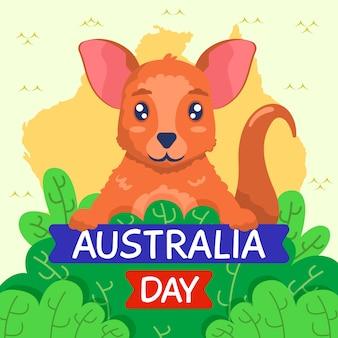 Giorno sveglio dell'australia del canguro di vista frontale disegnata a mano
