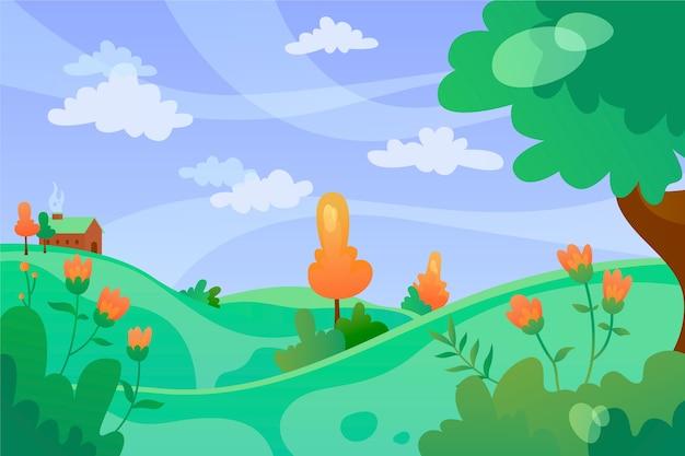 Giorno ventoso di paesaggio rilassante della primavera