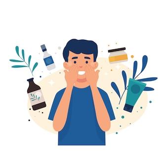 Giovane a cui piace prendersi cura della propria pelle con la cura della pelle, il giovane applica il toner sulla pelle del viso