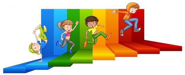 Giovane adolescente che cammina per passi colorati