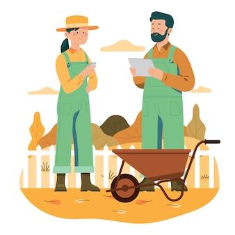 Giovane agricoltore con tecnologia moderna per lo sviluppo agricolo
