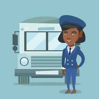 Giovane autista scuolabus femminile afroamericano.