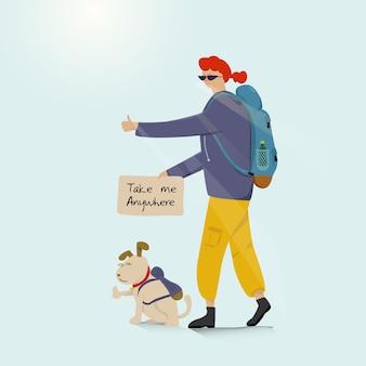 Giovane backpacking avventuroso