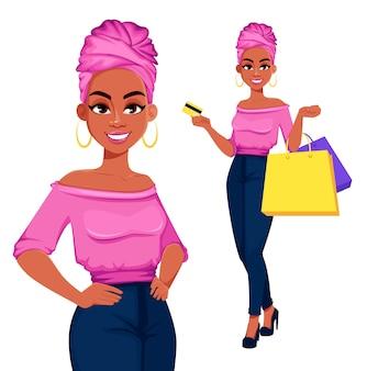 Giovane bella donna afroamericana shopping