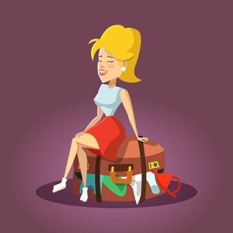 Giovane bella donna che si siede sulla valigia straripata. ragazza turistica del fumetto.