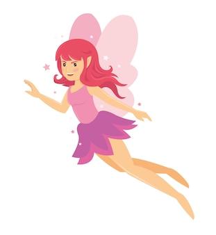 Giovane bella ragazza fata rosa angelico