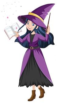 Giovane bella strega con bacchetta magica e libro in stile cartone animato isolato su sfondo bianco