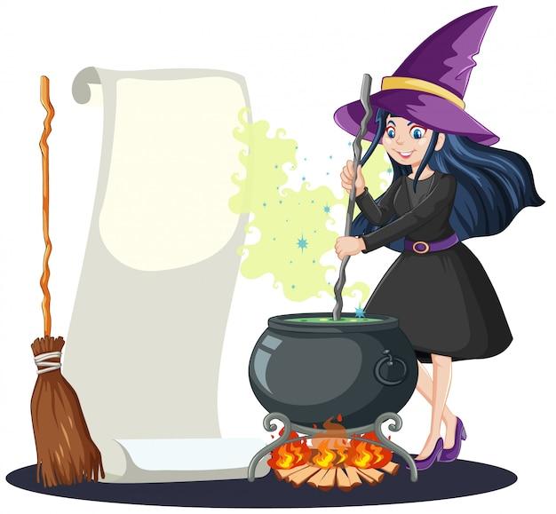 Giovane bella strega con pentola magica nera e manico di scopa e carta per appunti in bianco stile cartone animato isolato