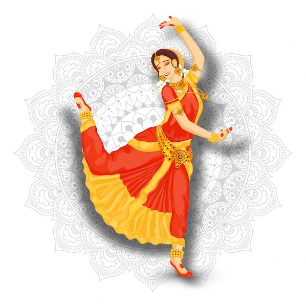Giovane bello ballerino indiano della donna che esegue bharatnatyam sul fondo bianco del modello della mandala.
