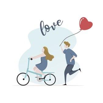 Giovane carattere delle coppie con la bandiera del testo di amore