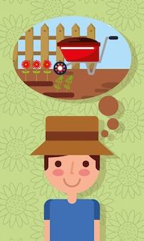 Giovane carino pensando in giardinaggio carriola carriola