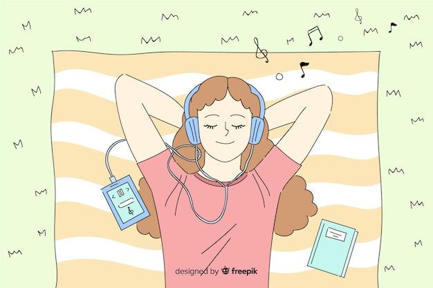 Giovane che ascolta la musica in stile di disegno coreano