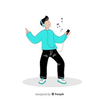 Giovane che ascolta la musica nel disegno di stile coreano del disegno