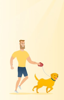 Giovane che cammina con il suo cane.
