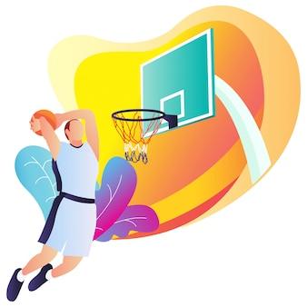 Giovane che gioca a basket nell'illustrazione piana di stile.