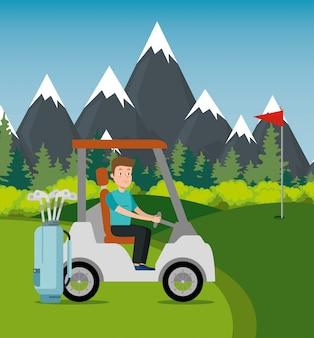Giovane che guida il carrello di golf