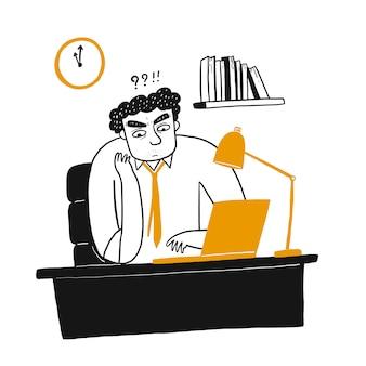 Giovane che pensa e che esamina un computer portatile lui ufficio