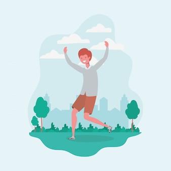 Giovane che salta celebrando nel carattere del parco