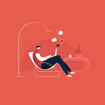 Giovane che si siede su una sedia e che lavora dall'illustrazione domestica, computer portatile usando giovane. lavorare da casa concetto