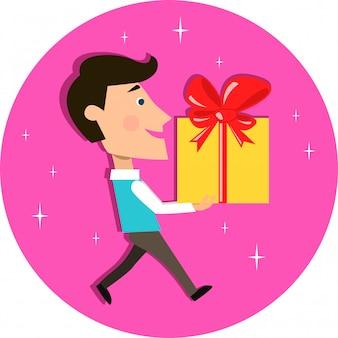 Giovane che trasporta regalo presente