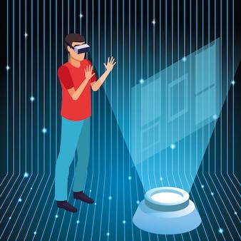 Giovane che usando la tecnologia di realtà virtuale