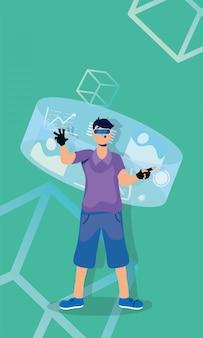 Giovane che utilizza la tecnologia virtuale di realtà nella visualizzazione interattiva