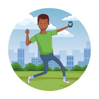 Giovane che utilizza smartphone