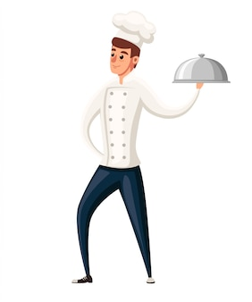 Giovane chef. illustrazione su sfondo bianco. personaggio dei cartoni animati . uomo sorridente, chef che tiene piatto d'argento