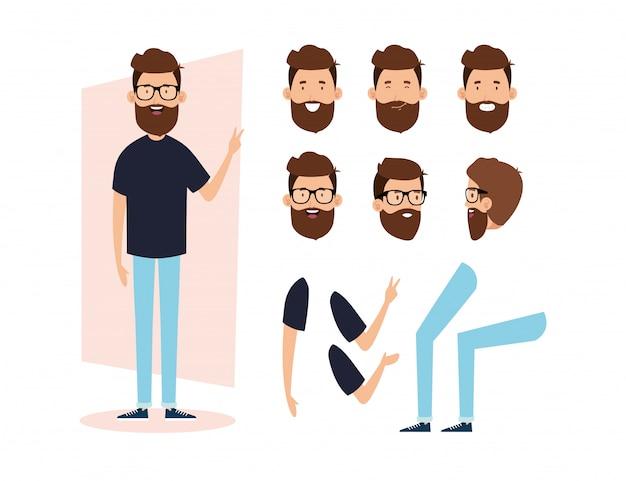 Giovane con barba e parti di corpo caratteri