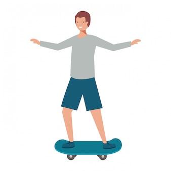 Giovane con carattere avatar skateboard