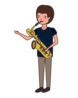 Giovane con carattere di sassofono