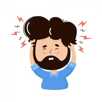 Giovane con mal di testa. concetto di stress. illustrazione piana del personaggio dei cartoni animati di vettore. isolato