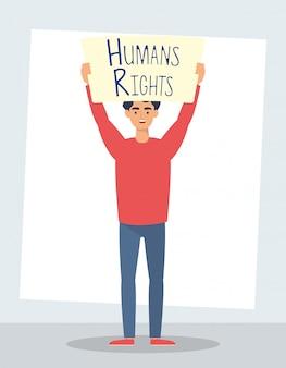 Giovane con progettazione dell'illustrazione di vettore del carattere dell'etichetta dei diritti umani