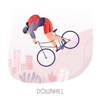 Giovane con zaino durante il giro in bicicletta giù per la collina sulla città