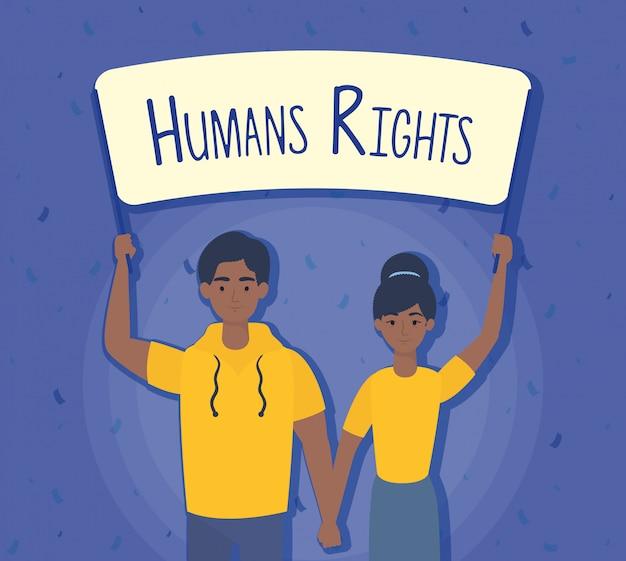 Giovane coppia afro con disegno di illustrazione vettoriale etichetta diritti umani
