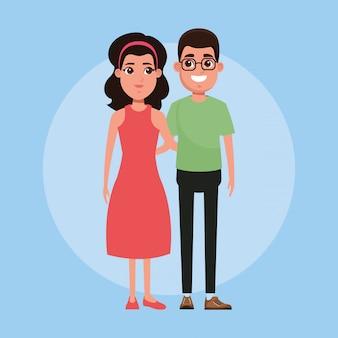 Giovane coppia cartoon