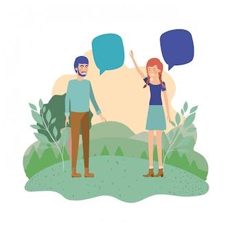 Giovane coppia con carattere di avatar di paesaggio