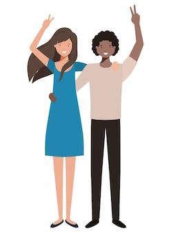 Giovane coppia con le mani in alto personaggio avatar