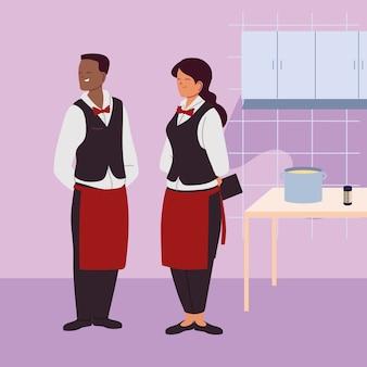 Giovane coppia di camerieri nella progettazione dell'illustrazione della cucina