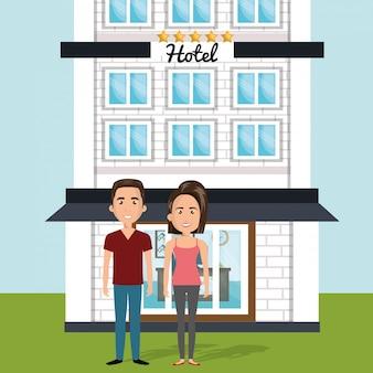Giovane coppia fuori personaggi avatar hotel